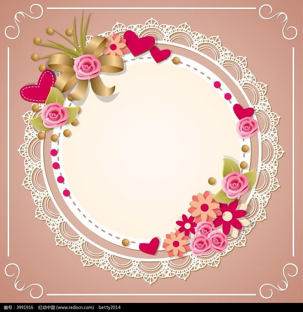 免费素材 矢量素材 花纹边框 底纹背景 温馨圆形花儿ai素材