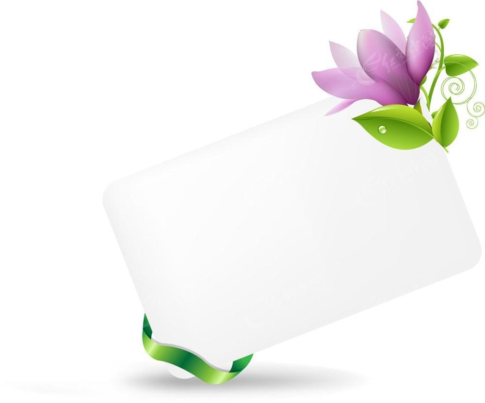 紫色花朵空白牌子背景素材