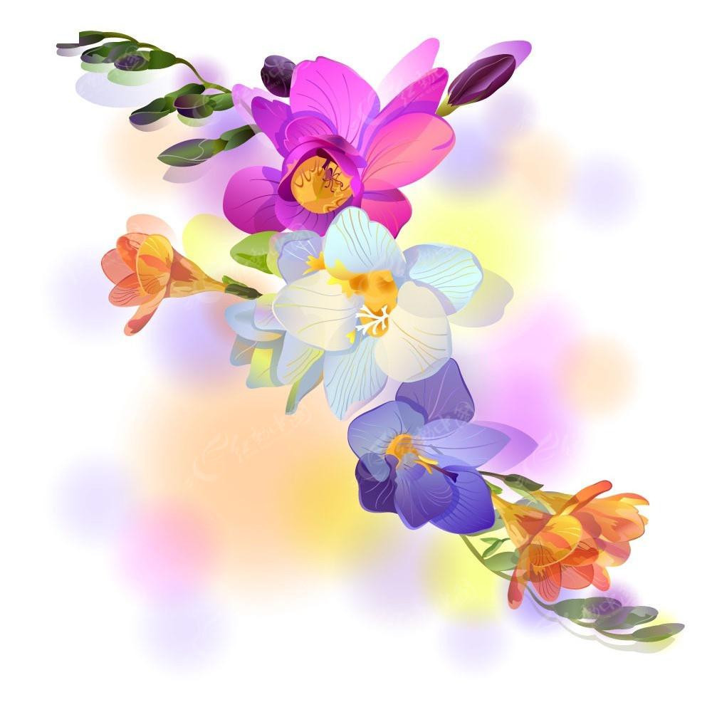 彩色手绘卡通花瓣商业背景