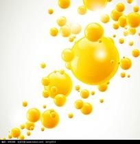 黄色飞散的圆球矢量背景