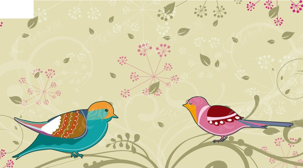 卡通手绘小鸟花纹矢量创意背景