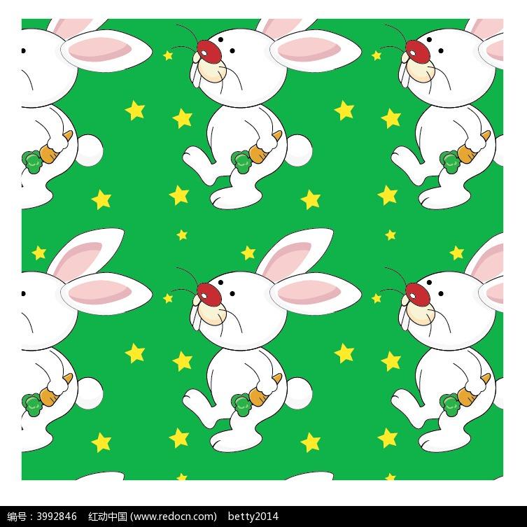 手绘绿色兔子和女孩以及五角星_卡通形象_红动手机版