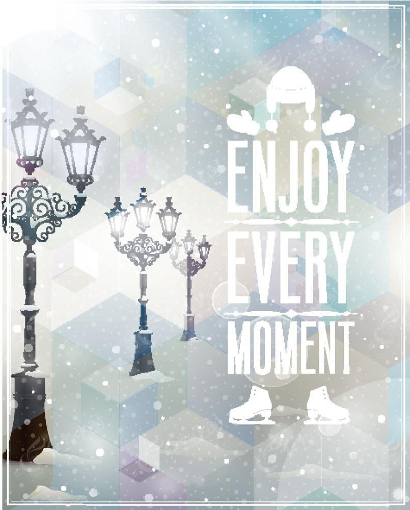 卡通下雪天的路灯背景素材
