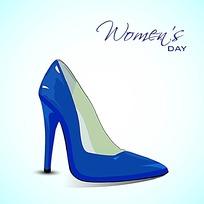 蓝色一只高跟鞋素材