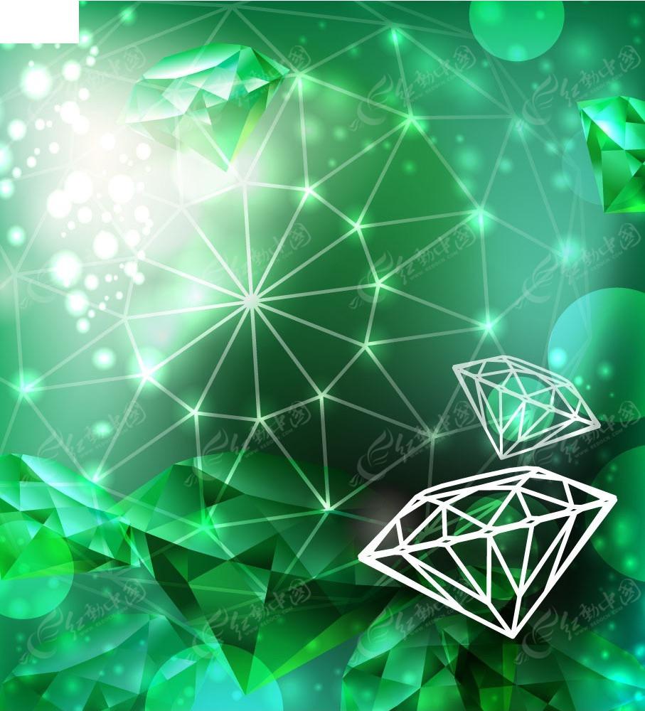 绿色线条钻石商业背景素材
