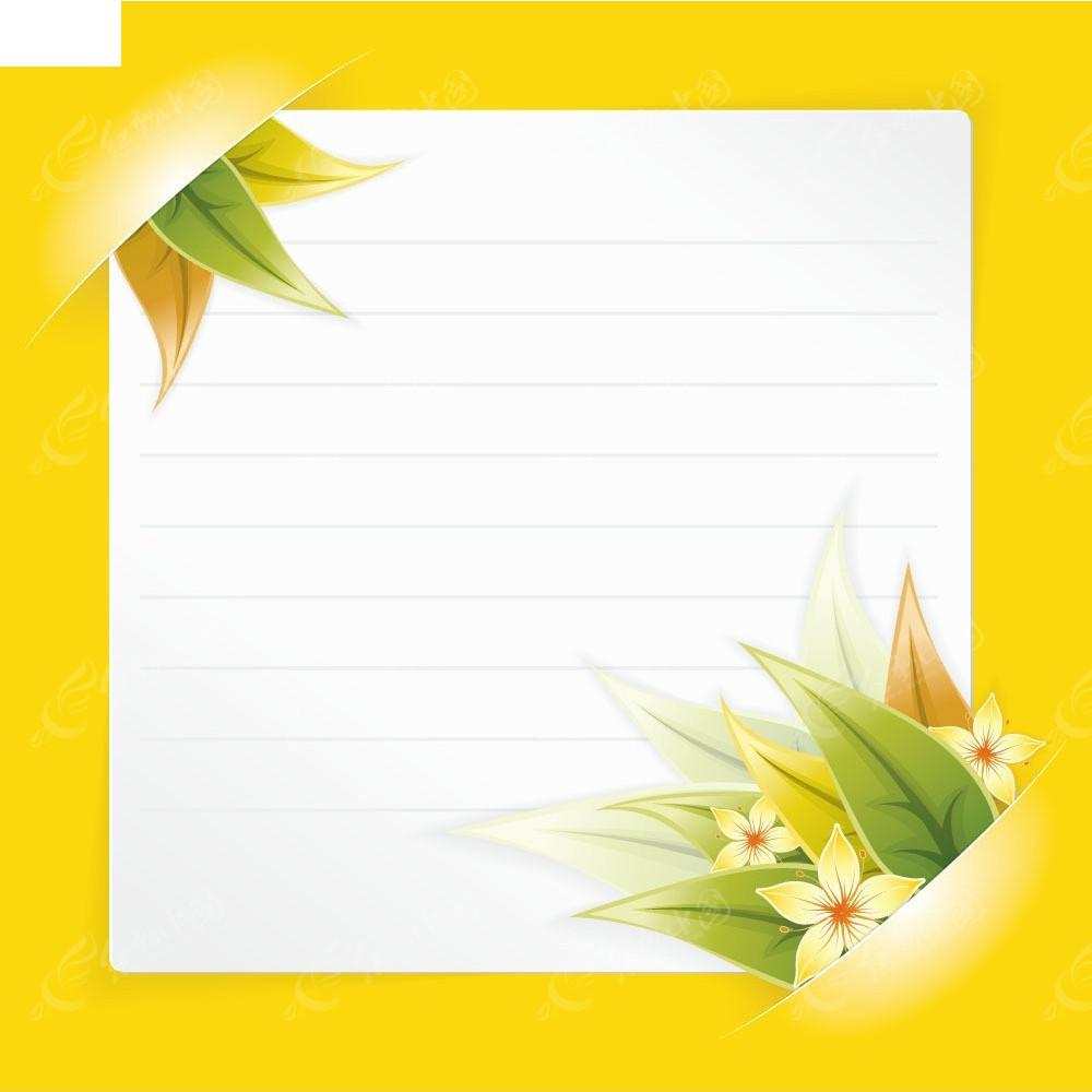小清新花朵白色信纸矢量商业背景图片