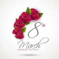 妇女节花朵宣传海报