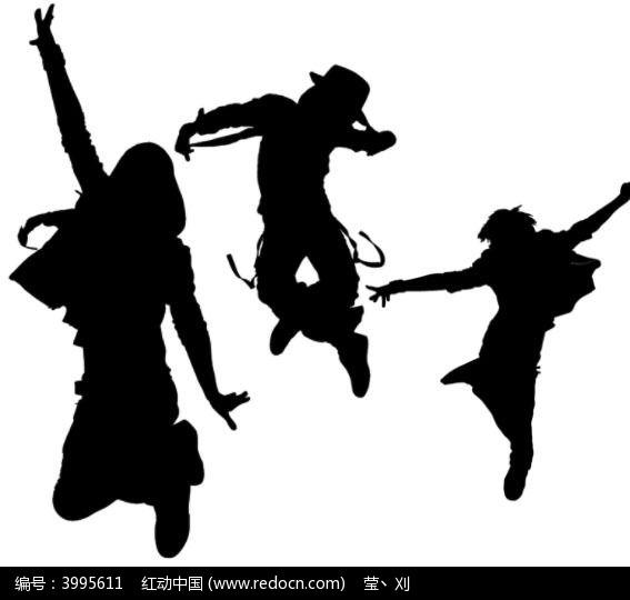 街舞人物跳跃剪影笔刷