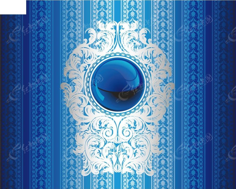 晶莹蓝色宝石银色花纹商业矢量创意背景