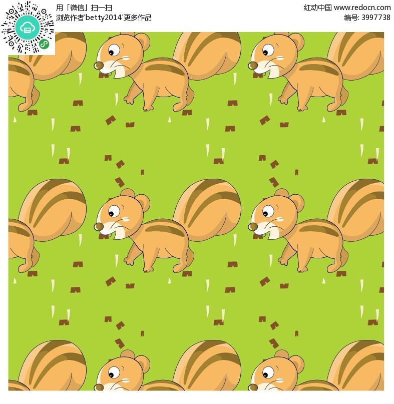 可爱卡通小松鼠底纹背景设计