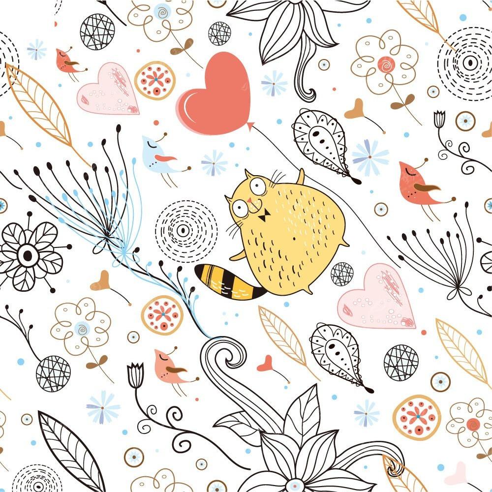 可爱小猫线描爱心植物矢量创意商业背景