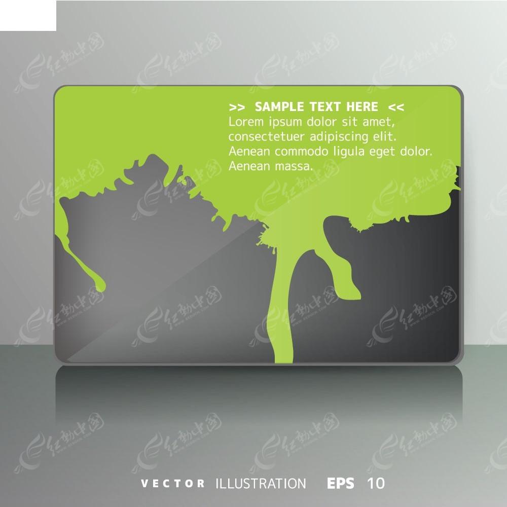 绿色系卡片模板矢量背景