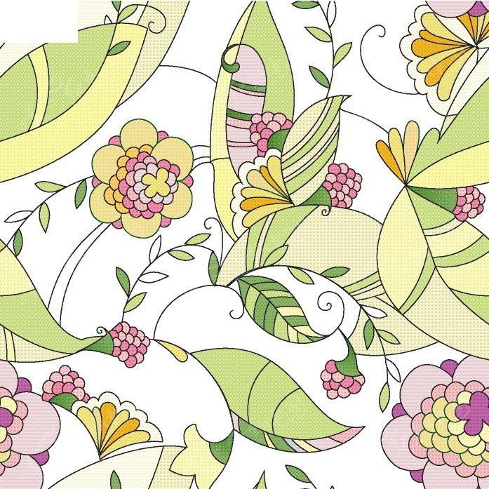 手绘黄色花团绿色叶子矢量商业创意背景