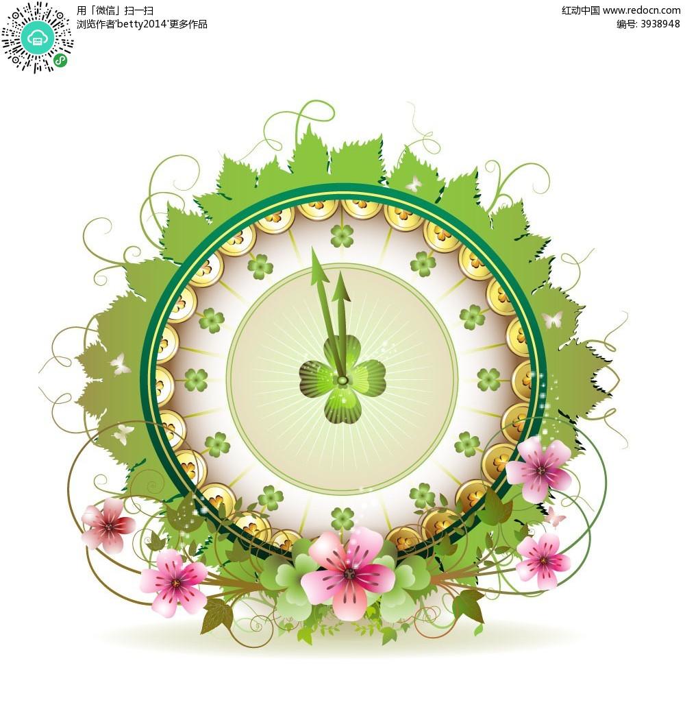四叶草时钟花朵商业创意背景素材图片