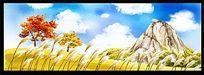 天空芦苇风景室内装饰画