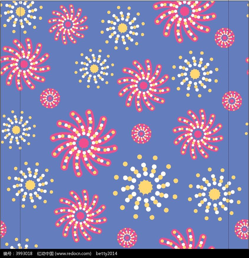 彩色抽象花朵浅蓝色背景