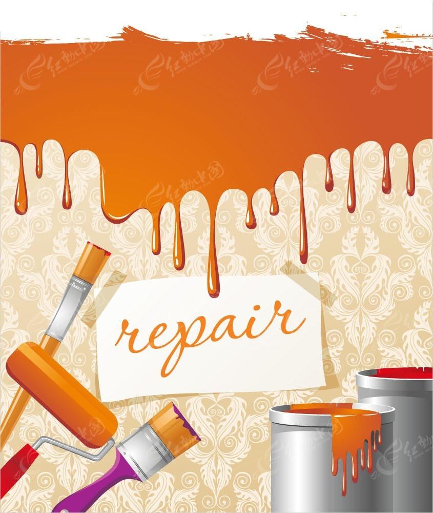 橙色系粉刷和油漆桶矢量背景