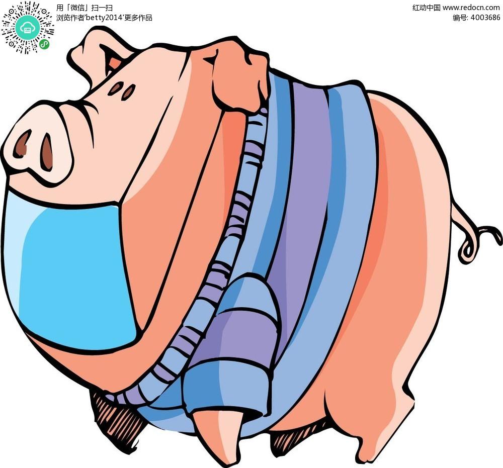 戴口罩的胖猪韩国矢量动物插画