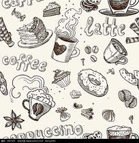 蛋糕和杯子图案矢量背景