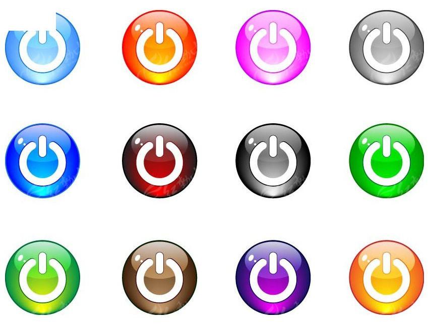 红色水晶按钮素材_多彩水晶开关按钮AI素材免费下载_红动网