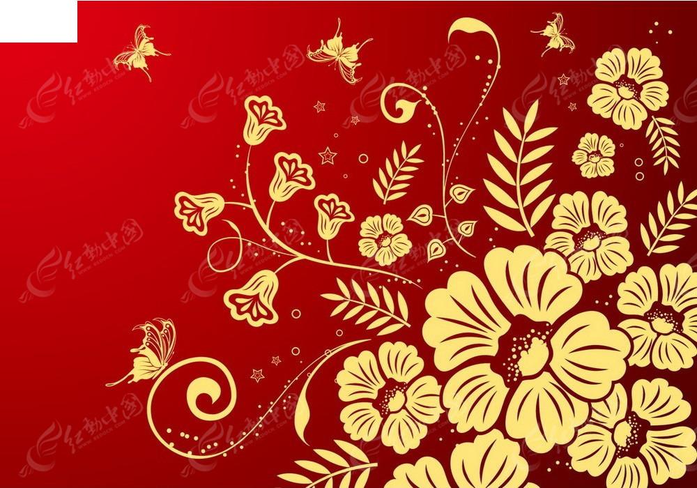 蝴蝶和花朵图案红色矢量背景