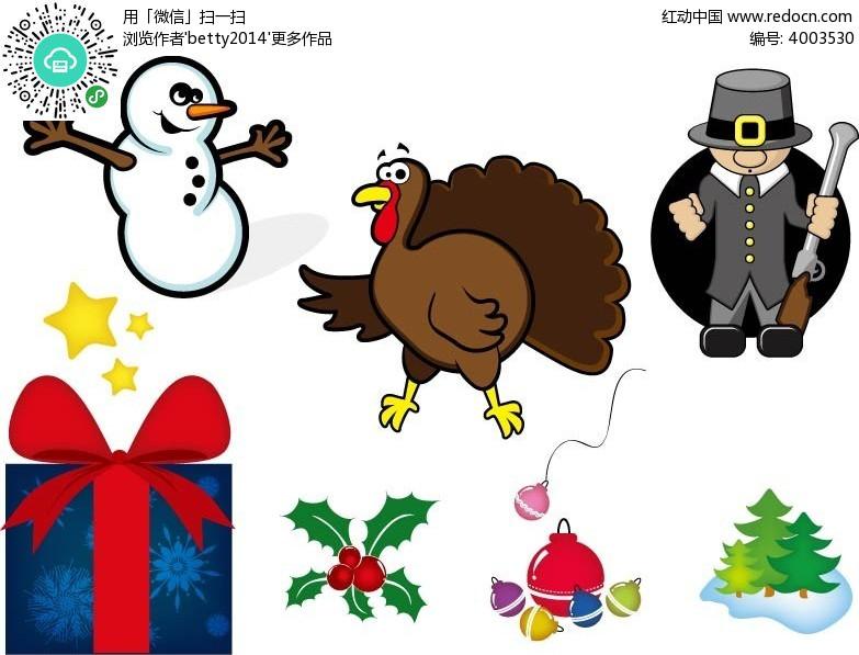 火鸡小雪人礼物盒矢量动物插画