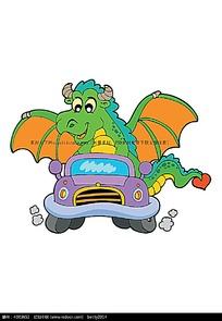 开汽车的飞龙卡通矢量动物插画