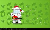 小绵羊圣诞老人动物插画