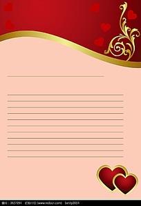 心形和藤蔓图案信纸矢量背景