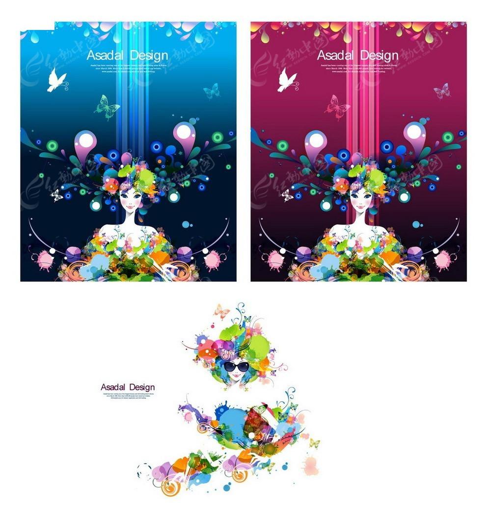 彩色花朵女生商业背景素材