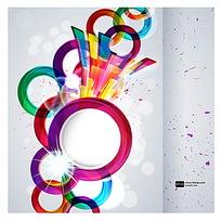 彩色圆球科技感白色彩点商业创意背景素材