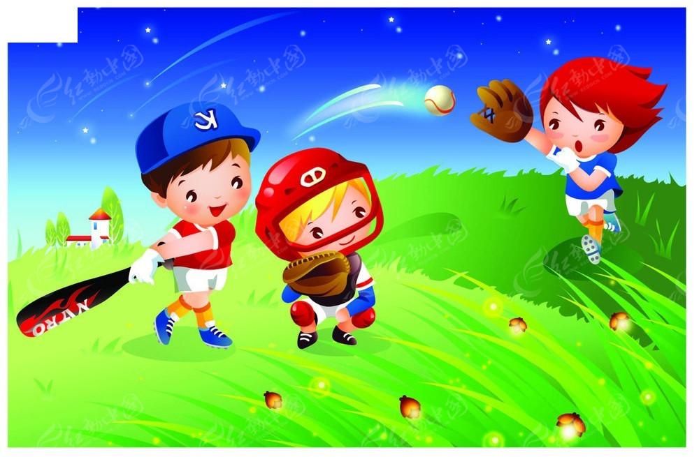 打棒球的小孩子韩国人物插画