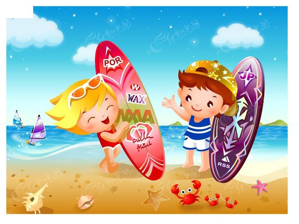 大海划桨手绘插画