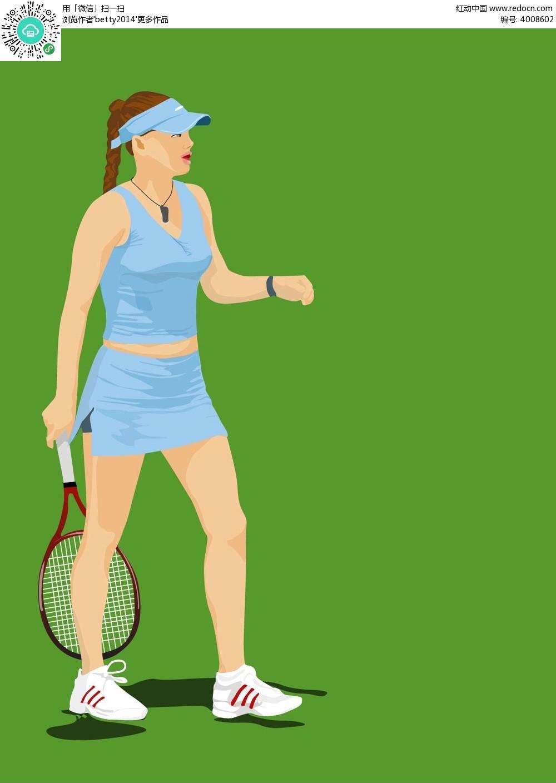 打网球的美女手绘背景图ai免费下载_体育运动素材