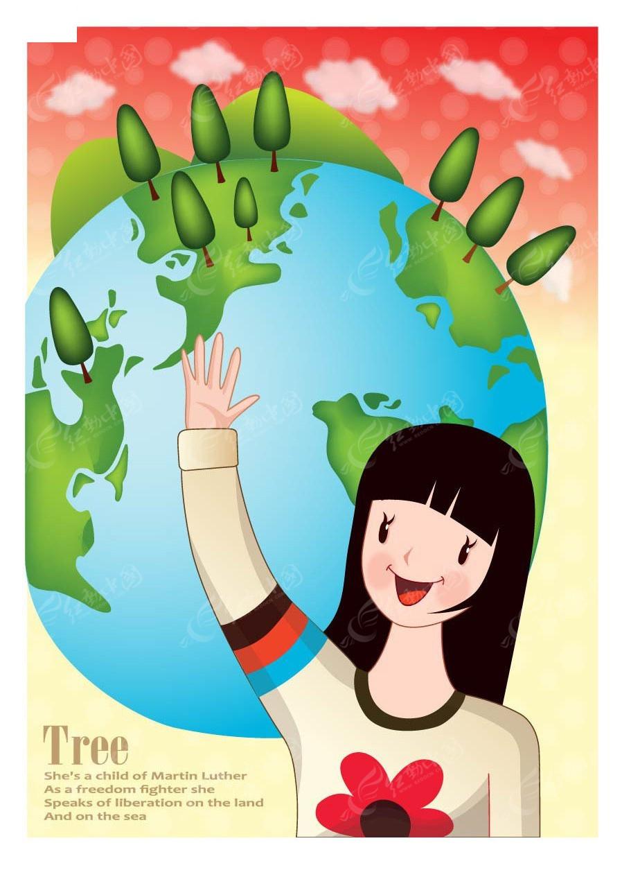 地球举手小孩子韩国插画AI素材免费下载 编号4001276 红动网