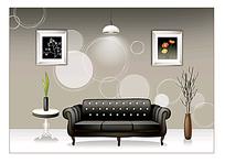 黑色皮质沙发背景素材