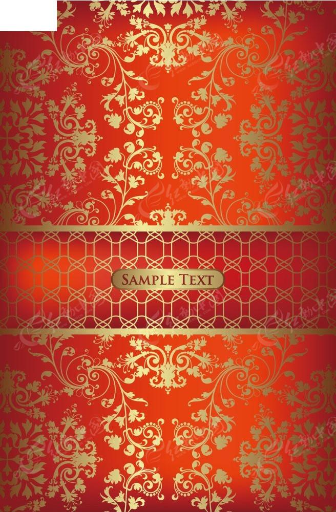 红色系藤蔓花纹矢量背景