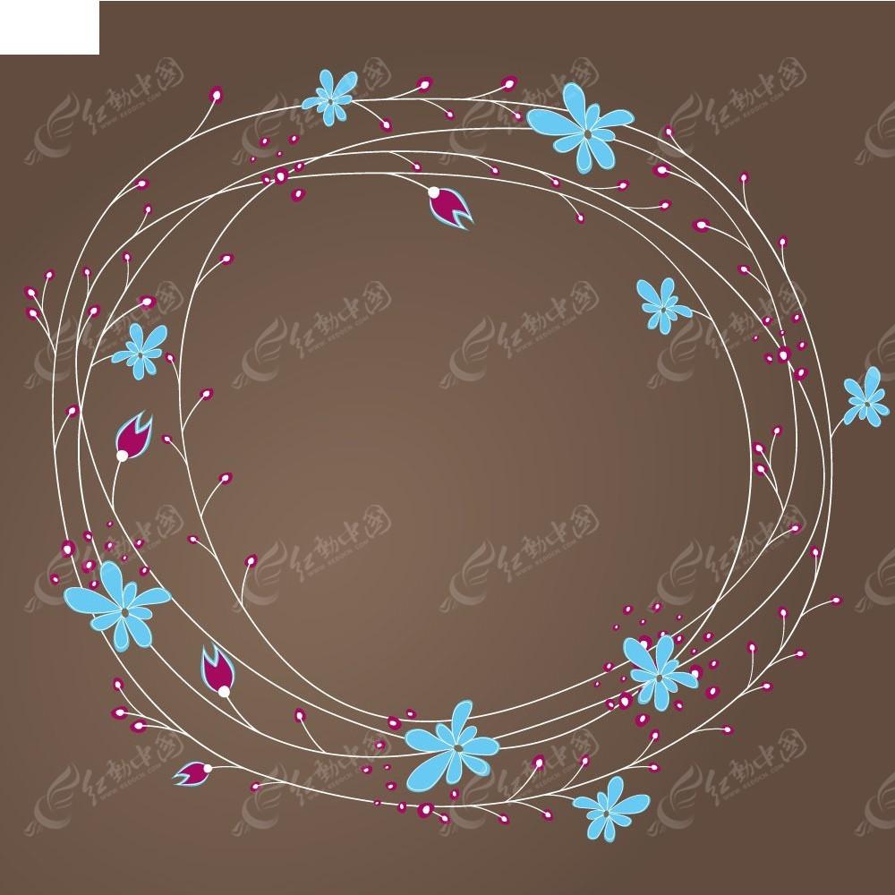 免费素材 矢量素材 花纹边框 底纹背景 花朵和藤蔓矢量背景  请您分