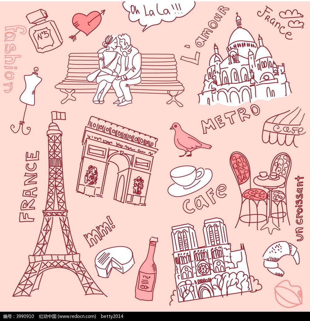 卡通巴黎铁塔凯旋门欧洲小镇矢量商业精美背景