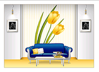 蓝色色皮质沙发背景素材