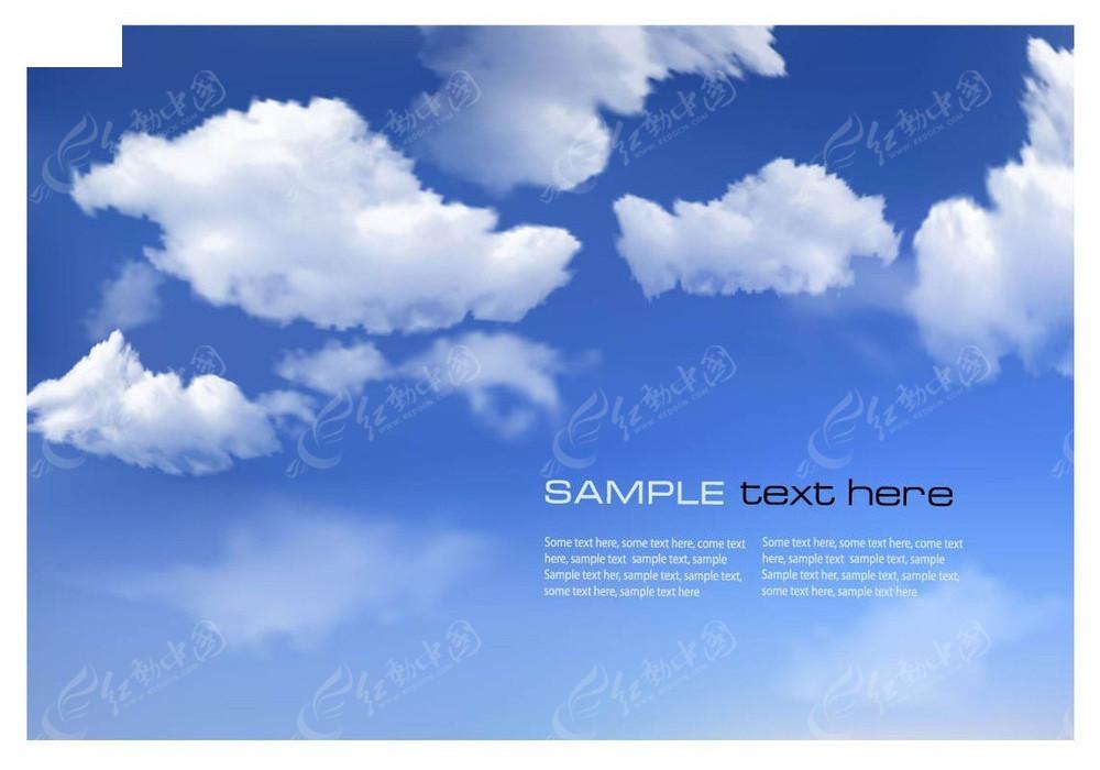 蓝天白云手绘背景