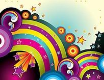 立体星星彩光圆球商业创意背景