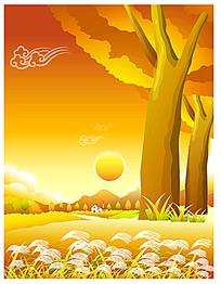 芦苇落日树木卡通矢量商业背景