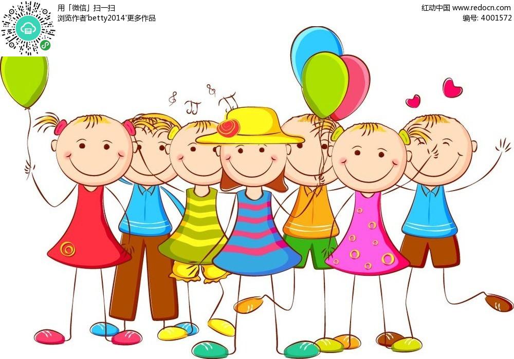 拿着气球的小孩子简笔画卡通矢量人物插画