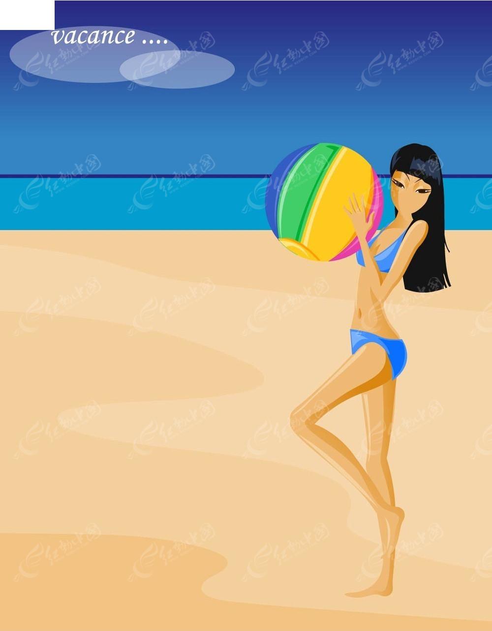 沙滩美女手绘背景画
