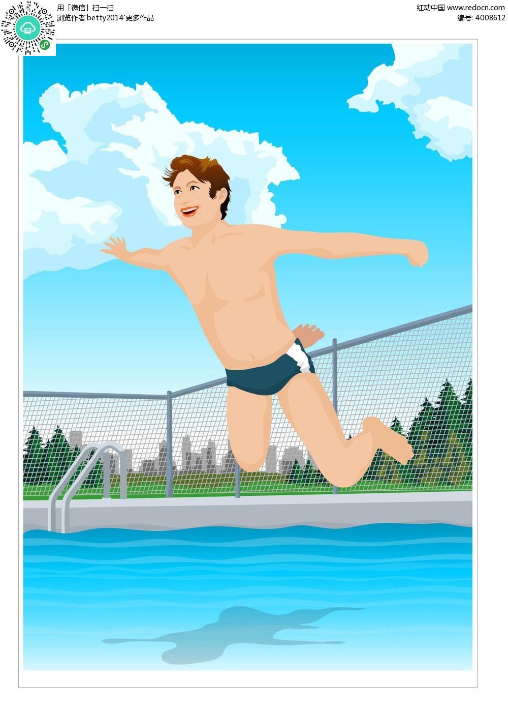 跳水运动手绘背景画