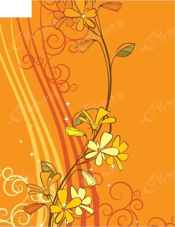 小花朵线条橘色创意背景