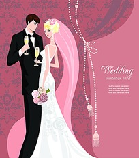 新郎新娘婚礼卡片素材