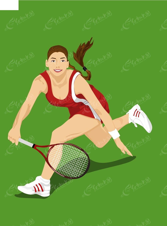 羽毛球女运动员插画矢量图_体育运动美女作品的爱a插画图片