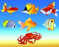 鱼螃蟹矢量图